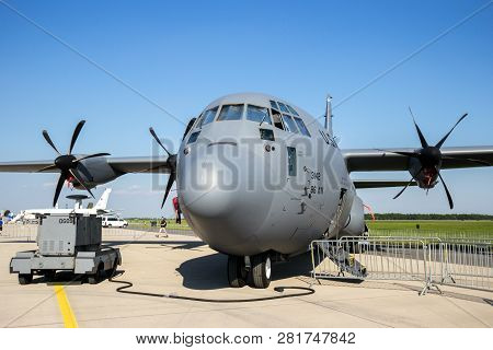 Berlin, Germany - May 21: A Us Air Force C-130j-30 Hercules Of The 37th As From Ramstein Airbase At