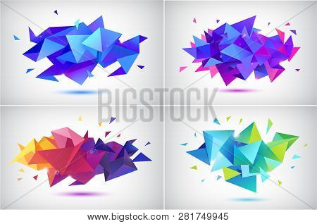 Vector Set Of Abstract Facet 3d Shapes, Geometric Banners. Low Poly Triangle Posters, Modern Concept