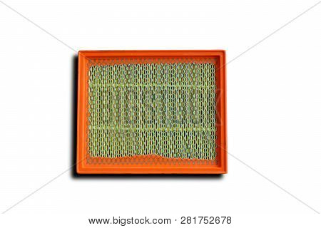The Orange Engine Air Filter On White Background Isolated