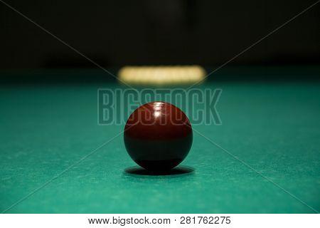 Playing Billiard. Billiards Balls On Green Billiards Table. Billiard Sport Concept. Russian Pyramid