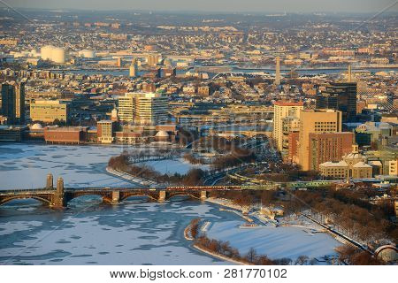 Boston Downtown West End District And Leonard P. Zakim Bunker Hill Memorial Bridge Aerial View In Wi