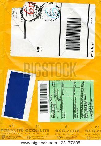 Envelope cardboard background with mail symbols fo background