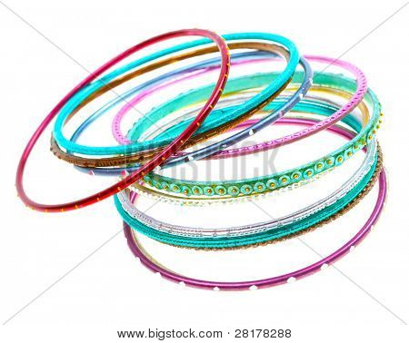 Colorful wrist bands on white background