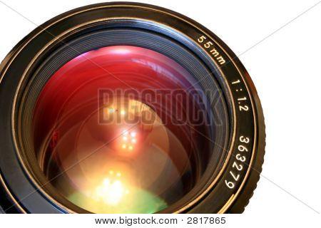 一眼レフ カメラのレンズ。