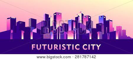 Vector Illustration, Night City Buildings Skyscrapers Big Railway Bridge With Passing Subway Train A