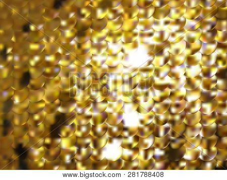 Vector Gold Metal Effect With Blurred Glowing Particles. Abstract Background With Iridescent Mesh Gr