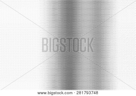 Black On White Faded Halftone Texture. Vertical Dotwork Gradient. Dotted Vector Background. Monochro