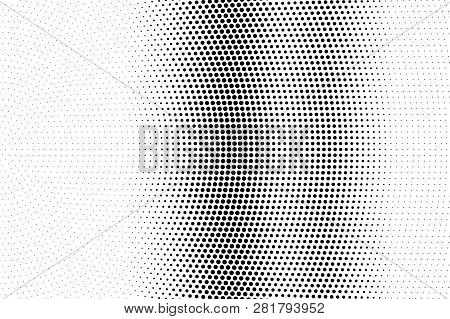 Black On White Micro Halftone Texture. Vertical Dotwork Gradient. Dotted Vector Background. Monochro