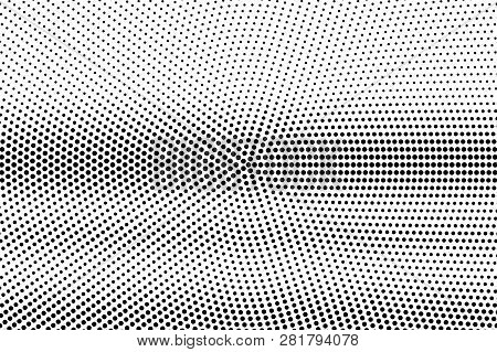 Black On White Smooth Halftone Texture. Horizontal Dotwork Gradient. Rough Dotted Vector Background.