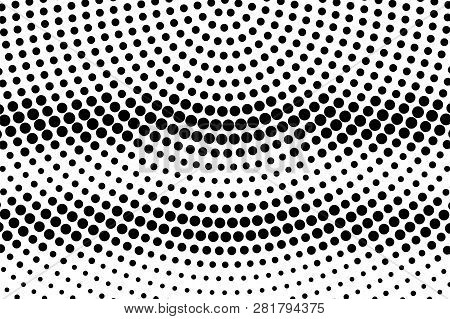 Black On White Oversized Halftone Texture. Horizontal Dotwork Gradient. Rough Dotted Vector Backgrou