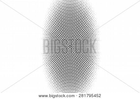 Black On White Halftone Texture. Centered Dotwork Gradient. Distressed Dotted Vector Background. Mon