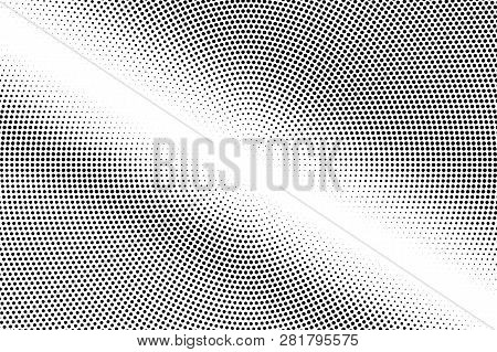 Black On White Faded Halftone Texture. Smooth Dotwork Gradient. Distressed Dotted Vector Background.