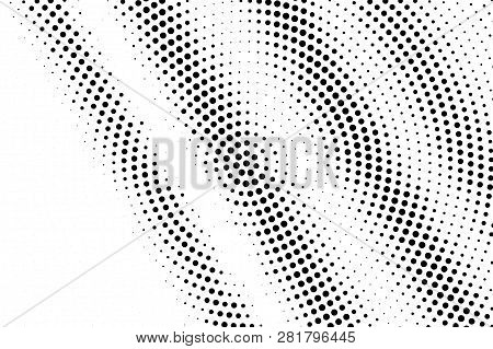 Black On White Oversized Halftone Texture. Rough Dotwork Gradient. Distressed Dotted Vector Backgrou