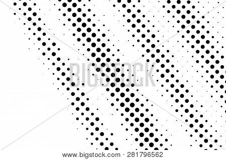 Black On White Rough Halftone Texture. Diagonal Dotwork Gradient. Distressed Dotted Vector Backgroun