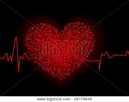 Vector illustration of a musical heart in red colored  with heart beat on black background for for Valentine Day.