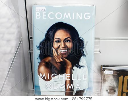 Paris, France - Dec 16, 2018: Boockstore Stand With Cover Of Becoming Michelle Obama The Autobiograp