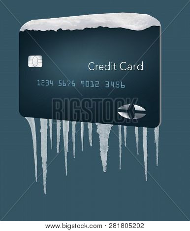 A credit card with snow on top and icicles below illustrates the idea of a credit freeze on a credit bureau account. This is an illustration. poster
