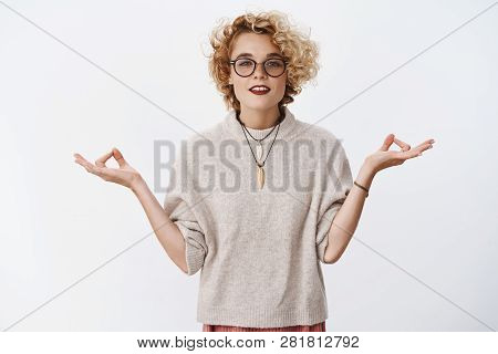 Girl Found Peace And Patience. Relaxed And Chill Woman Reaching Nirvana Looking Peaceful And Pleased