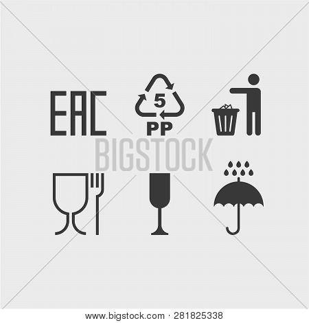 Signs On The Package Flat Vector Icons.  Eac, Protect From Moisture, Throw In The Trash, Non-toxic M