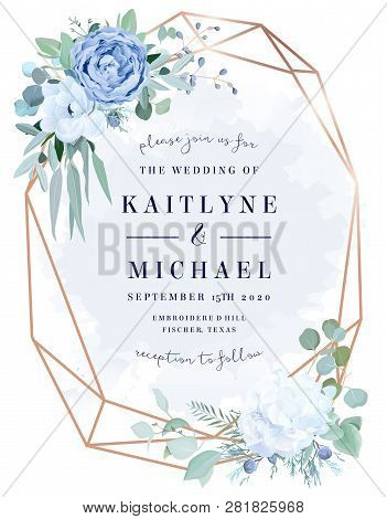 Dusty Blue Rose,  White Hydrangea, Anemone, Eucalyptus, Juniper Vector Design Frame.stylish Pink Gol