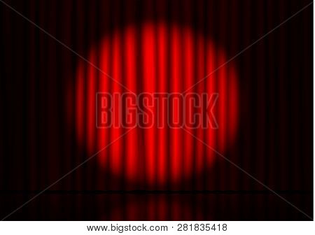 Red Curtain With Spotlight And Floor Reflection In Theater. Velvet Fabric Cinema Curtain Vector. Spo