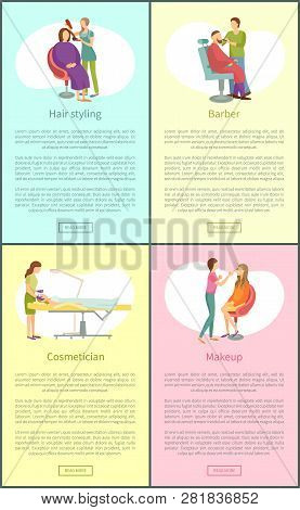 Hair Styling Procedures Posters Set With Text Sample Set Vector. Cosmetician Webpages Online, Haircu