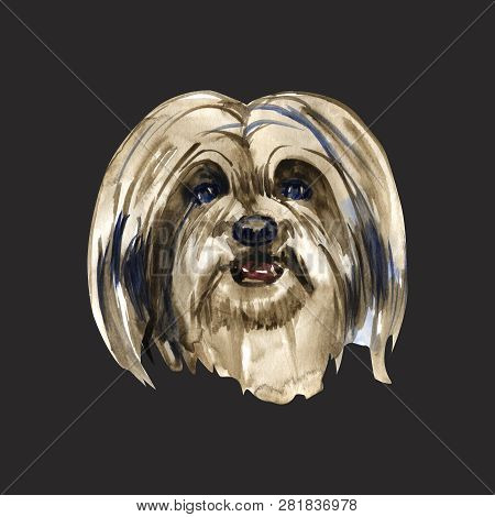Lhasa Apso - Hand Painted, Isolated Watercolor Dog
