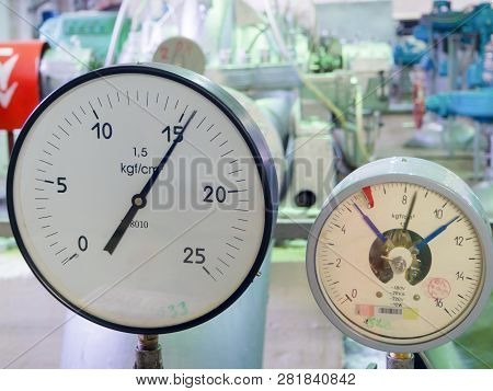 Pressure Gauges At The Water Pumping Station