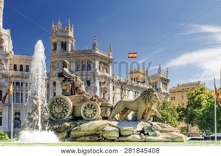 Madrid, Spain. Fountain Of Cibeles In Madrid