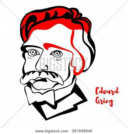 Edvard Grieg Engraved Vector Portrait With Ink Contours. Norwegian Composer And Pianist. He Is Widel