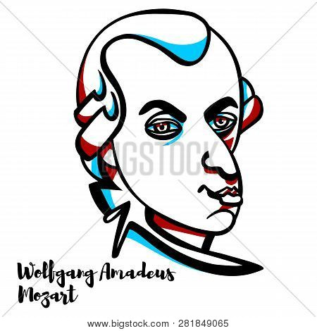 Wolfgang Amadeus Mozart Engraved Vector Portrait With Ink Contours. Prolific And Influential Compose