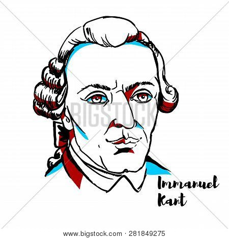 Immanuel Kant Engraved Vector Portrait With Ink Contours. German Philosopher Who Is A Central Figure