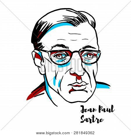Jean-paul Sartre Engraved Vector Portrait With Ink Contours. French Philosopher, Playwright, Novelis