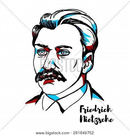 Friedrich Nietzsche Engraved Vector Portrait With Ink Contours. German Philosopher, Cultural Critic,