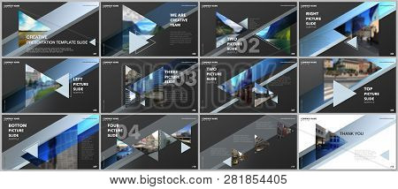 Minimal Presentations Design, Portfolio Vector Templates With Triangles And Triangular Elements. Mul
