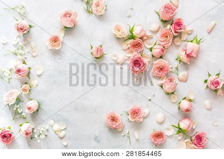 Rose Background. Collection Of  Roses And Petals Arranged On Textured Background. Top View, Blank Sp