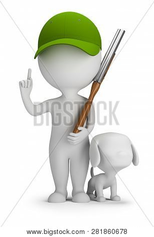 3d Small People - Hunter With A Raised Finger, With A Shotgun And A Dog. 3d Image. White Background.