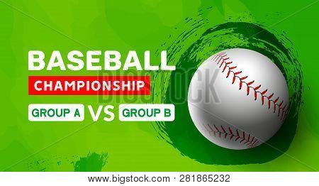 Baseball Flyer Poster Design Game Tournament. Vector Baseball Banner Sport Invitation Illustration.