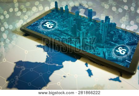 Smartphone With 3d City On Screen And 5g Word