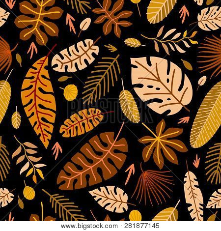 Floral Seamless Pattern With A Fallen Leaves.