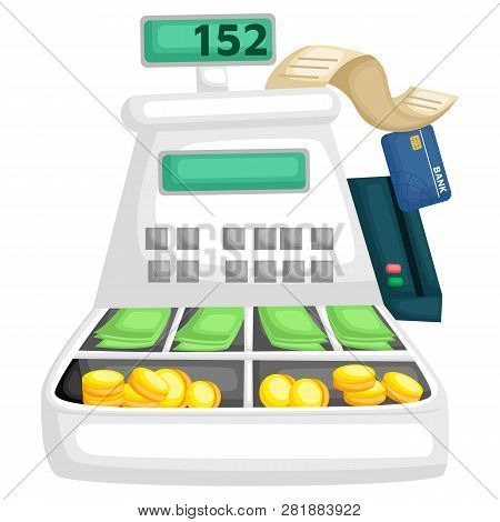 A Cash Register Machine Full Of Money