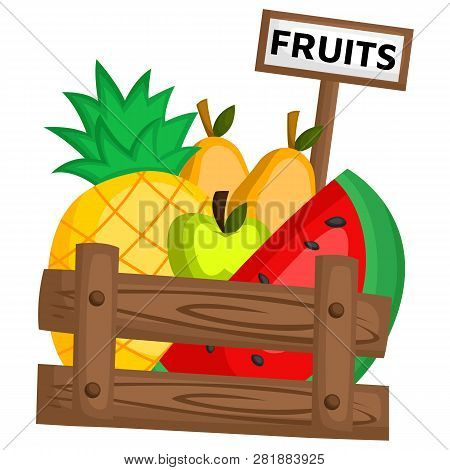 A Healthy Fruits In A Basket Of Wood