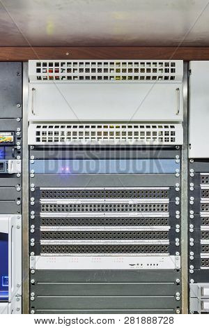 Patch Panel Of Communication Of Gigabit Fiber-optic Network Cables In The Television Studio And Fram