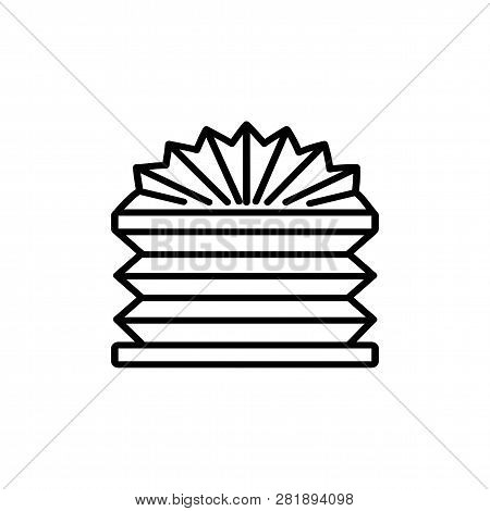 Black & White Vector Illustration Of Pleated Shades Blinds. Line Icon Of Arch Window Horizontal Curt