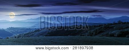 Panorama Of Romania Countryside At Night In Full Moon Light Wonderful Springtime Landscape In Mounta