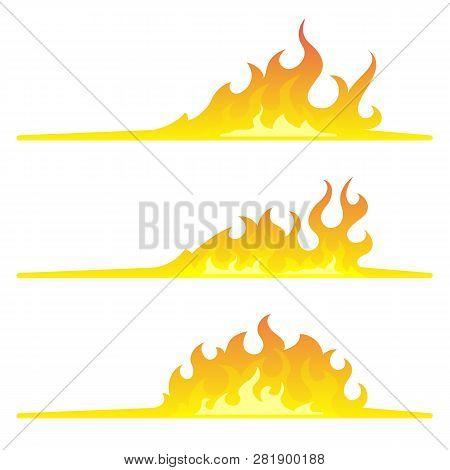3 Bonfire Borders With Flat Bottom Design Element On White Background