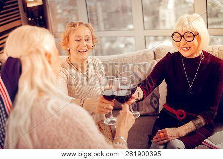 Positive Nice Senior Women Enjoying Their Meeting