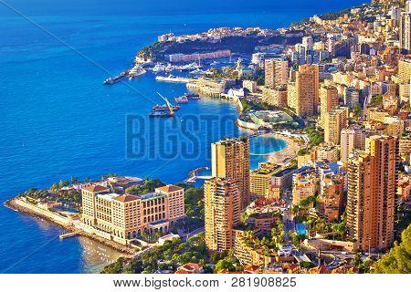 Monaco And Monte Carlo Cityscape And Harbor Aerial View, Principality Of Monaco