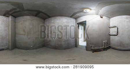 Full Spherical Seamless Panorama 360 Degrees Angle View Concrete Tenement Gray Walls In Empty Flat R