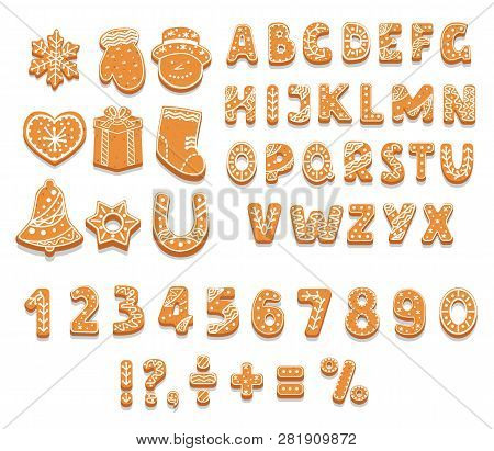 Set Of Gingerbread Cookies Alphabet, Numbers, Holiday Treat, Sweet Pastries Of Different Shapes, Pun